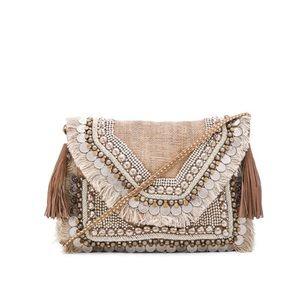 SHASHI REVOLVE Leela Clutch Embellished Beaded Burlap Crossbody Boho